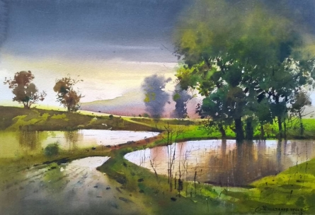 Nature Watercolor Art Painting title 'Monsoon 3' by artist NanaSaheb Yeole