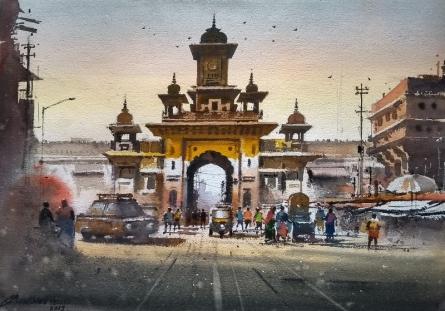 Cityscape Watercolor Art Painting title 'Morbi' by artist NanaSaheb Yeole
