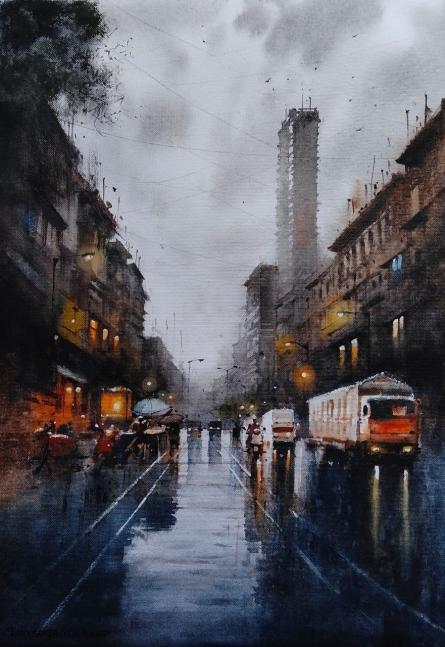 Cityscape Watercolor Art Painting title Mumbai Rain by artist NanaSaheb Yeole