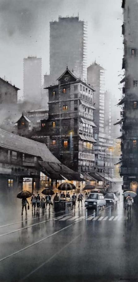 Cityscape Watercolor Art Painting title Mumbai Rain 2 by artist NanaSaheb Yeole