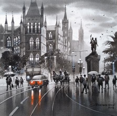 Cityscape Acrylic Art Painting title 'Mumbai Series 4' by artist NanaSaheb Yeole