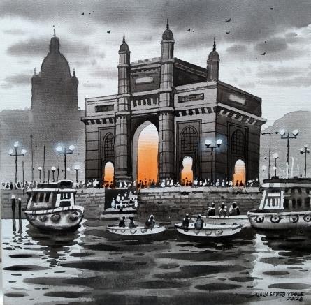 Cityscape Acrylic Art Painting title 'Mumbai Series 5' by artist NanaSaheb Yeole
