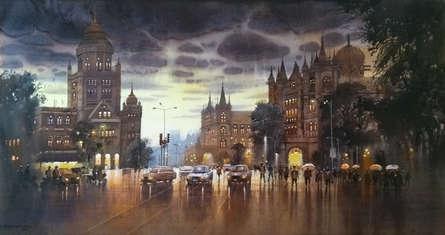 Cityscape Acrylic Art Painting title 'Rainy Mumbai' by artist NanaSaheb Yeole