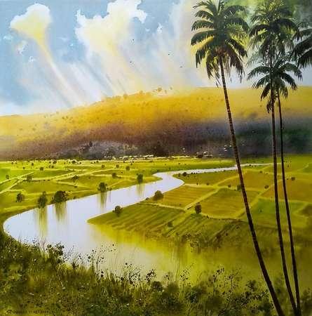Landscape Acrylic Art Painting title River by artist NanaSaheb Yeole