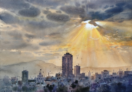Landscape Watercolor Art Painting title Sun Light by artist NanaSaheb Yeole