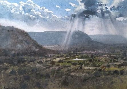 Nature Watercolor Art Painting title 'Top View' by artist NanaSaheb Yeole