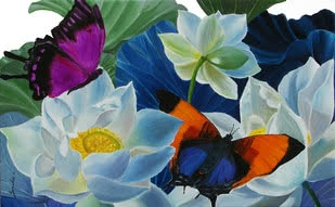 Nature Oil Art Painting title 'Flower With Butterfly 2' by artist Sulakshana Dharmadhikari