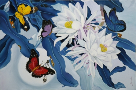Landscape Oil Art Painting title 'Flower With Butterfly 11' by artist Sulakshana Dharmadhikari