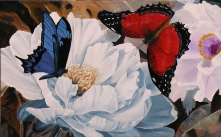Nature Oil Art Painting title 'Flower With Butterfly 4' by artist Sulakshana Dharmadhikari