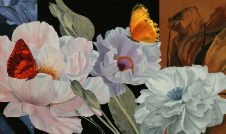 Nature Oil Art Painting title 'Flower With Butterfly 5' by artist Sulakshana Dharmadhikari