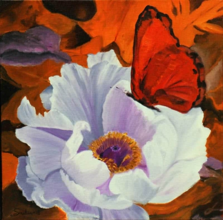 Nature Oil Art Painting title 'Flower With Butterfly 6' by artist Sulakshana Dharmadhikari
