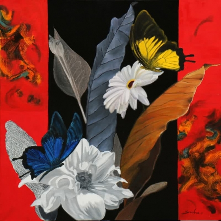 Nature Oil Art Painting title 'Flower With Butterfly 7' by artist Sulakshana Dharmadhikari