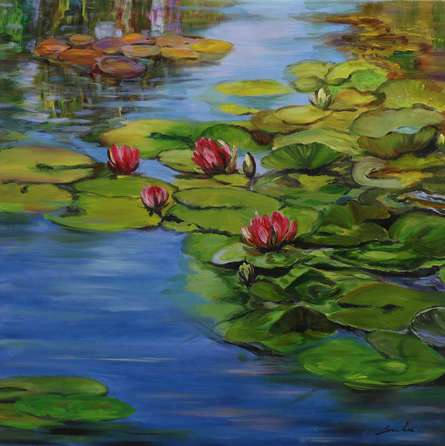 Landscape Oil Art Painting title 'Lily Pond 13-30x30' by artist Sulakshana Dharmadhikari