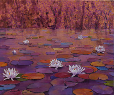 Landscape Oil Art Painting title Lily Pond 17- 36x30 by artist Sulakshana Dharmadhikari