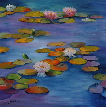 Landscape Oil Art Painting title Lily Pond 19- 24x24 by artist Sulakshana Dharmadhikari