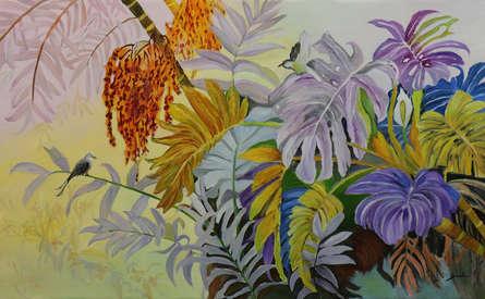 Landscape Oil Art Painting title Nature 48x30 by artist Sulakshana Dharmadhikari