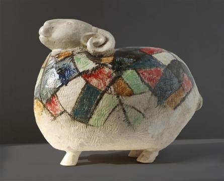 MAHESH ANJARLEKAR | Sheep Sculpture by artist MAHESH ANJARLEKAR on Ceramics | ArtZolo.com