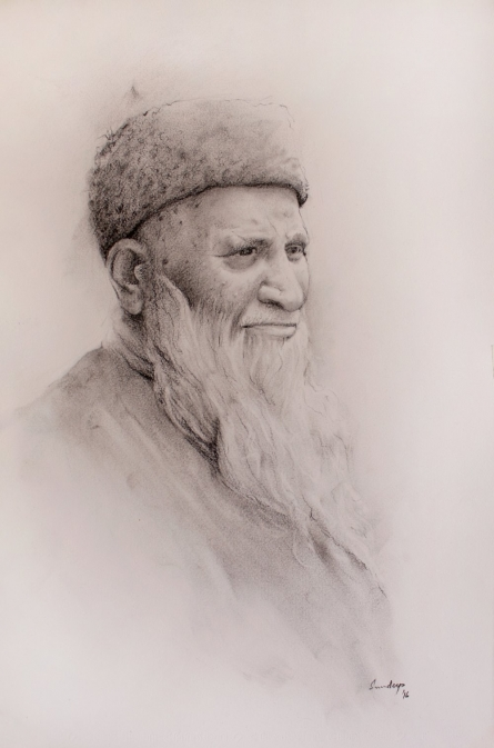 Portrait Charcoal Art Drawing title 'Edhi' by artist Sundeep Kumar