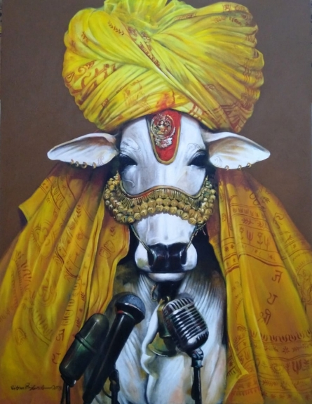 Animals Acrylic Art Painting title Cosmic Cow by artist Jiban Biswas