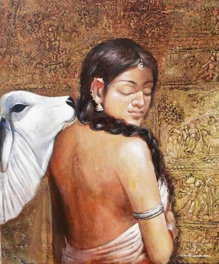 Figurative Acrylic Art Painting title Beauty 2 by artist Jiban Biswas