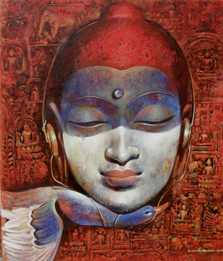 Jiban Biswas Paintings | Figurative Painting - Buddha 2 by artist Jiban Biswas | ArtZolo.com