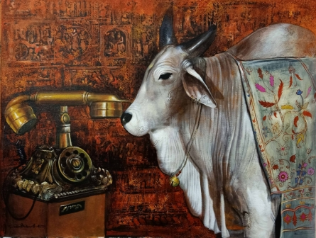 Animals Acrylic Art Painting title Nostalgia by artist Jiban Biswas