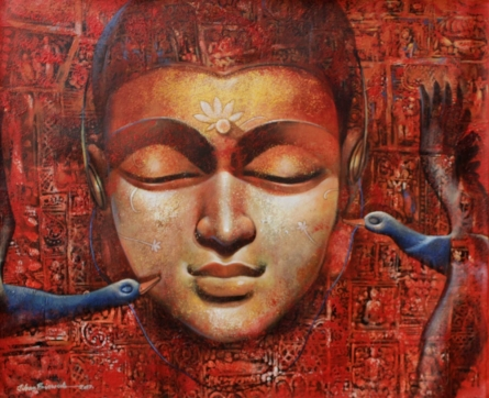 Figurative Acrylic Art Painting title 'Buddha 3' by artist Jiban Biswas