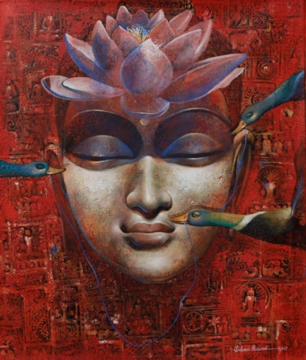 Meditation | Painting by artist Jiban Biswas | acrylic | Canvas