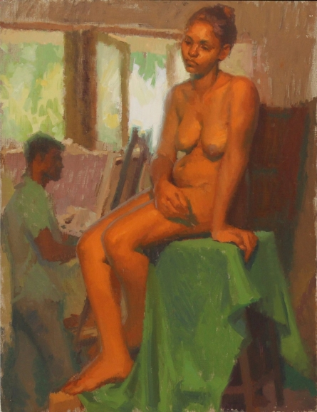 Figurative Oil Art Painting title Figure Study by artist Snehal Page