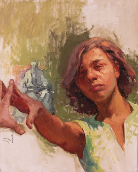 Figurative Oil Art Painting title 'Reaching Out' by artist Snehal Page