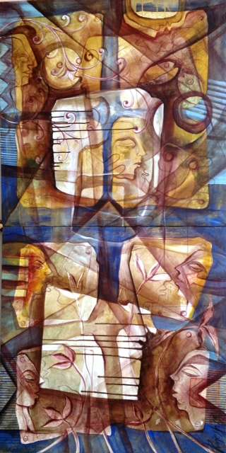 contemporary Mixed-media Art Painting title Face To Face by artist Rajesh Yadav