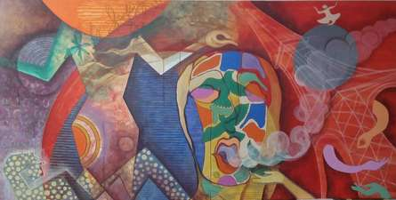 Rajesh Yadav | Mixed-media Painting title Freedom on mixed media | Artist Rajesh Yadav Gallery | ArtZolo.com