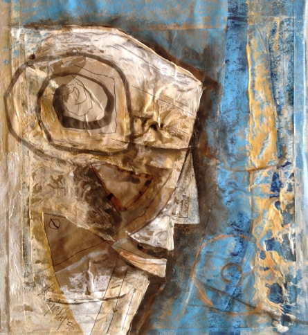 Abstract Mixed-media Art Painting title 'Head 2' by artist Rajesh Yadav