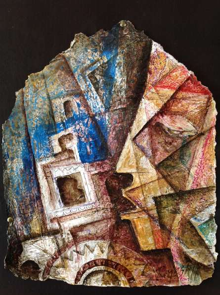 contemporary Mixed-media Art Painting title 'Heritage Love 1' by artist Rajesh Yadav