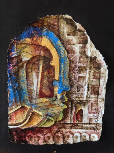 Cubist Mixed-media Art Painting title 'Heritage Love 2' by artist Rajesh Yadav