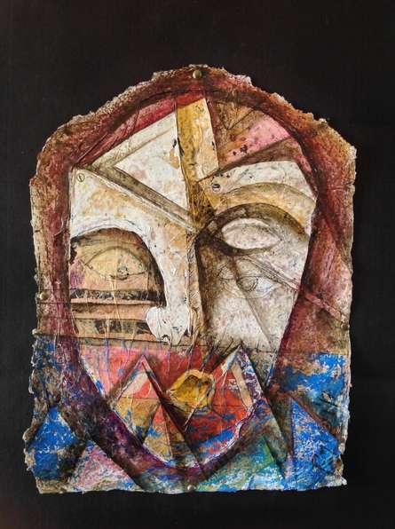 Figurative Mixed-media Art Painting title 'Heritage Love 3' by artist Rajesh Yadav
