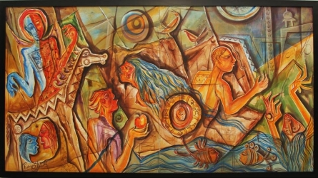 contemporary Mixed-media Art Painting title Story Of Human Life by artist Rajesh Yadav