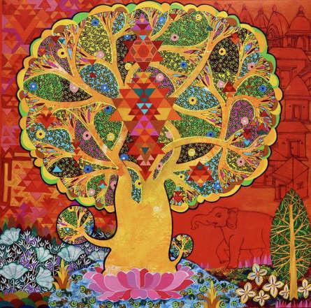 Figurative Acrylic Art Painting title 'Maha Lakshmi' by artist Chandra Morkonda