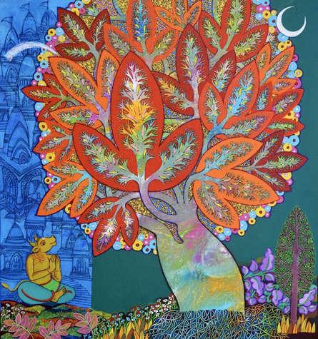Figurative Acrylic Art Painting title 'Shiva' by artist Chandra Morkonda