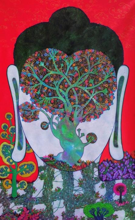 Religious Acrylic Art Painting title 'Bodhi Tree 1' by artist Chandra Morkonda