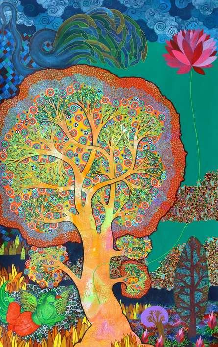 Religious Mixed-media Art Painting title Maha Vishnu by artist Chandra Morkonda