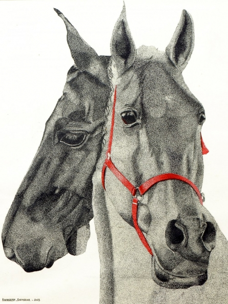 Ink Paintings | Drawing title Two horses on Paper | Artist Kamalesh Salaskar