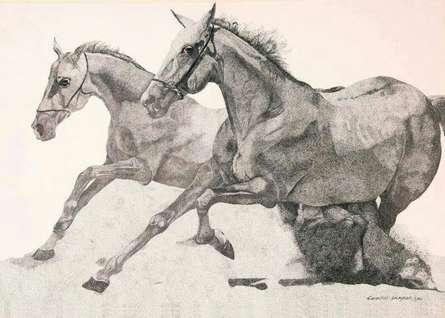 Two Running Horses | Drawing by artist Kamalesh Salaskar |  | ink | Paper