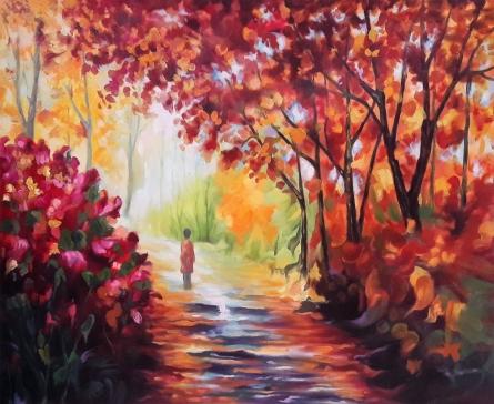 Nature Oil Art Painting title 'A Magical Fall' by artist Abid Khan