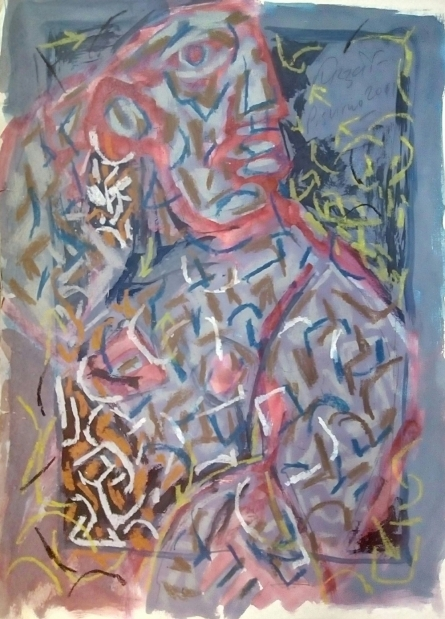 Abstract Mixed-media Art Painting title 'Abstract 2' by artist Jitendra Suralkar