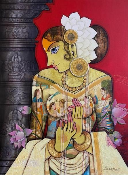 Figurative Acrylic Art Painting title Beauty 1 by artist Sachin Kharat