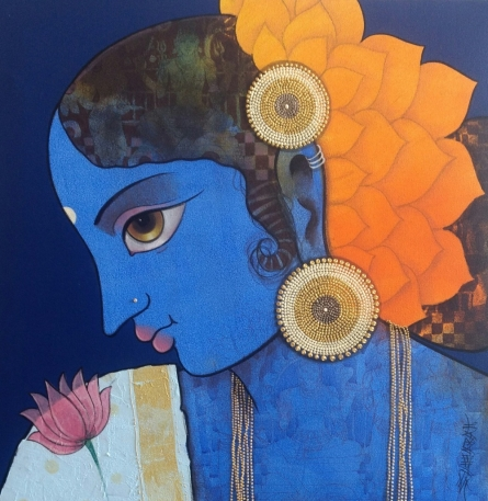 Figurative Acrylic Art Painting title 'Lady' by artist Sachin Kharat