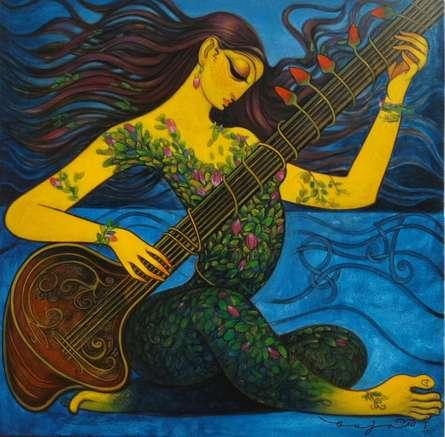 Figurative Acrylic Art Painting title 'Lady playing Sitar' by artist Ramesh Gujar