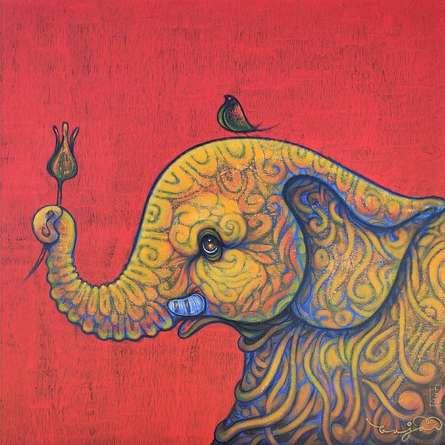 Animals Acrylic Art Painting title Elephant by artist Ramesh Gujar