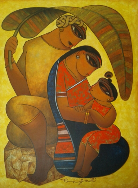 Family 2 | Painting by artist Ramesh Gujar | acrylic | Canvas